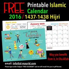 Islamic Calendar 2016 1437