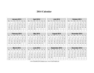 Calendar 2014 Printable One Page Horizontal