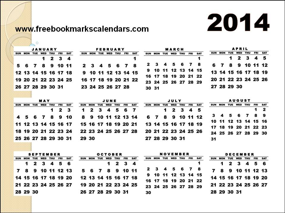 Yearly Calendar 2014 Printable One Page