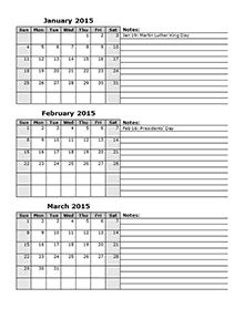 3 Month Calendar Template 2015 Printable