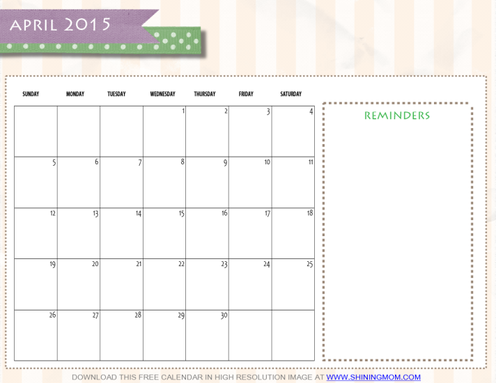 April 2015 Calendar Printable