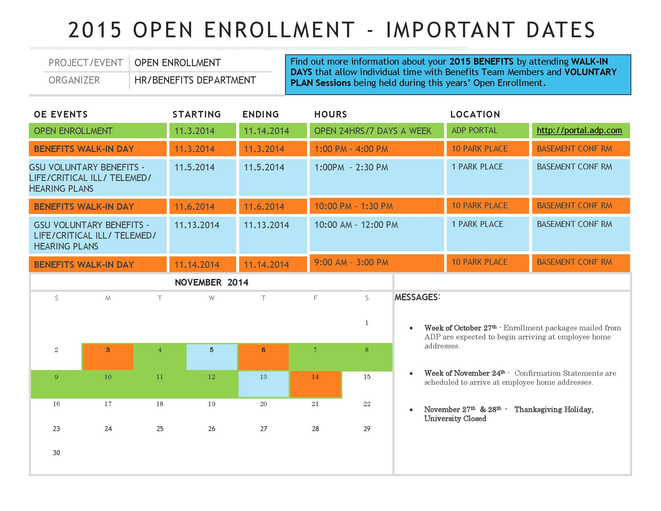 Open Enrollment 2015 Calendar