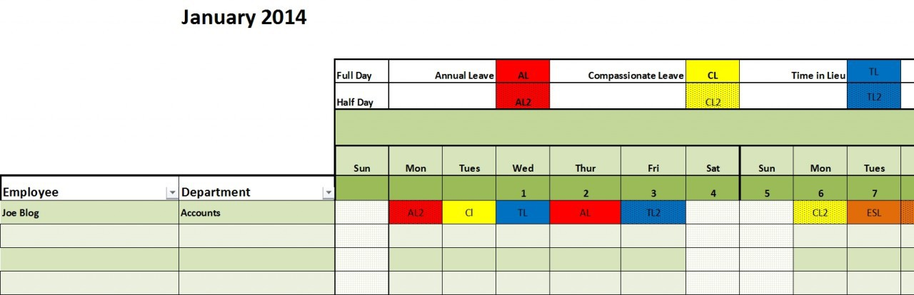 Staff Annual Leave Calendar Excel Template