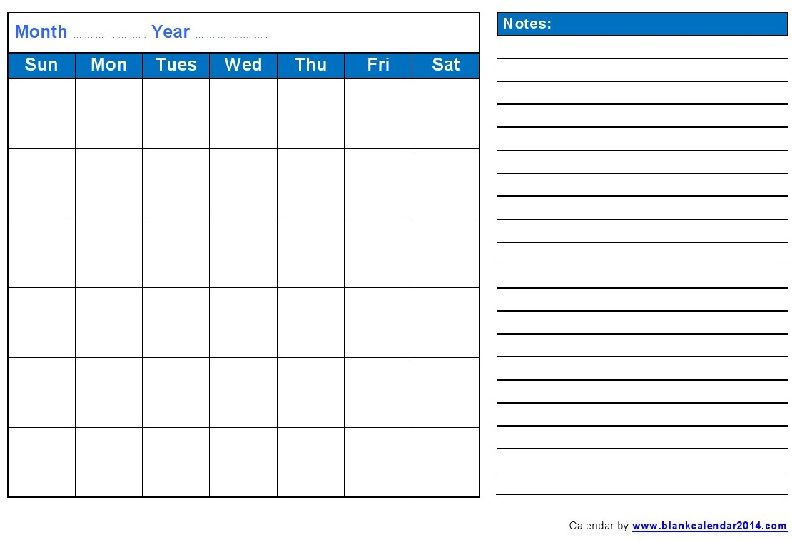 Blank Monthly Calendar Print Out