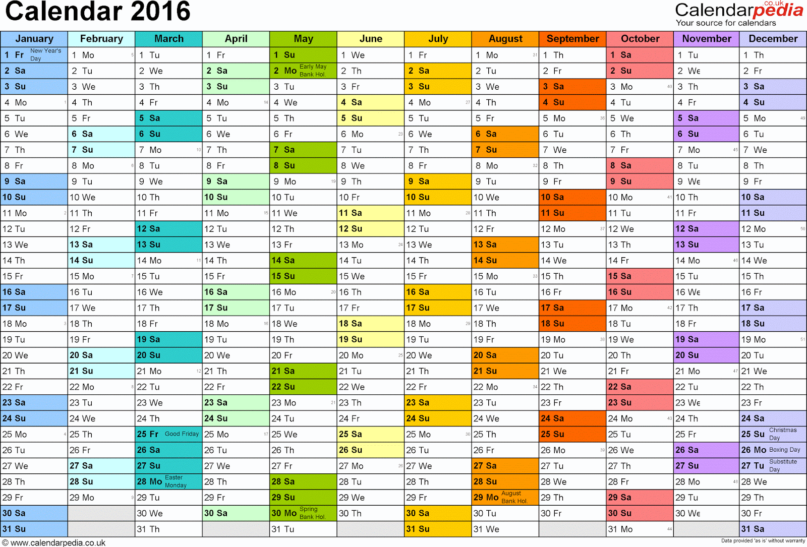 Free Blank Printable Calendars 2016
