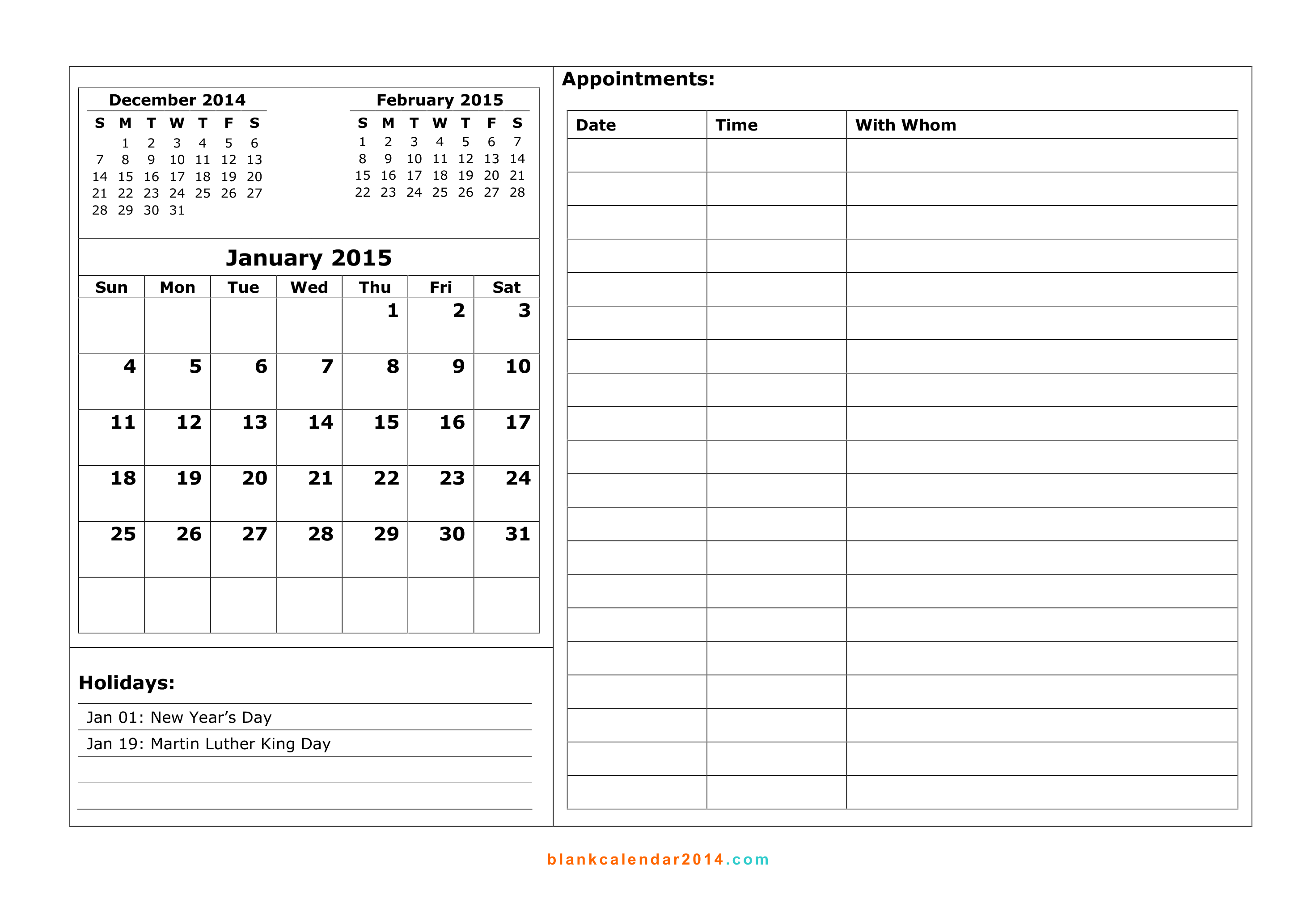 Free Printable Appointment Calendar January 2015