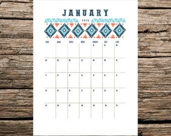 Cute Printable January 2015 Calendar