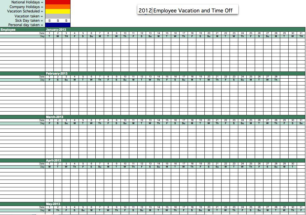 Excel Tracking Employee Vacation Calendar Template