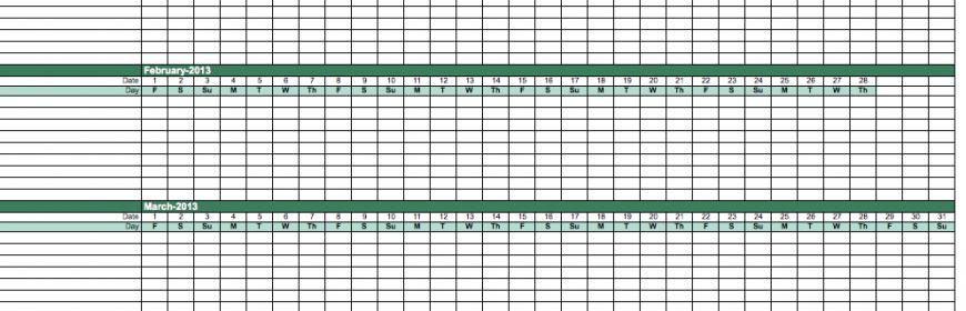 2014 Employee Attendance Calendar Template