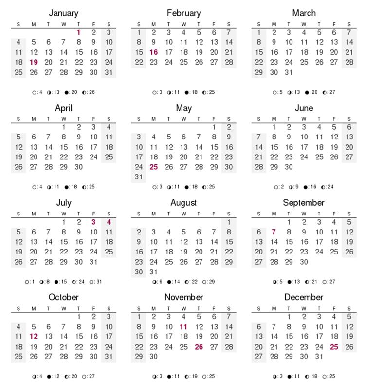 2016 12 Months of the Year Calendar