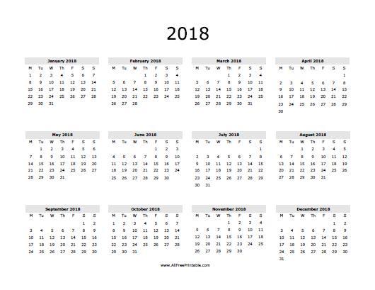 Free Printable 2016 Yearly Calendar