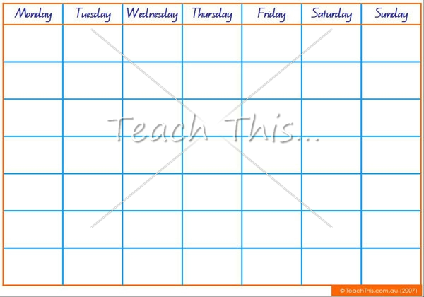 Fill in Monthly Calendar Template