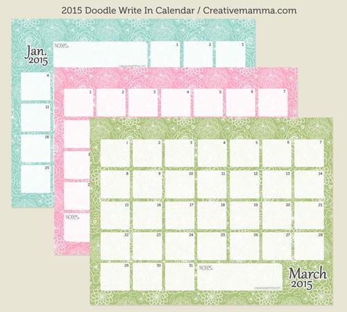 Free 2015 Calendar Printable Write In