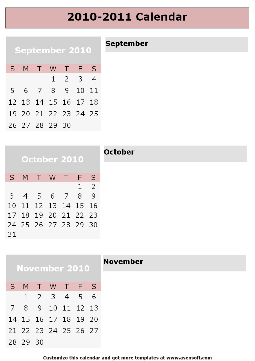 Blank School Calendar
