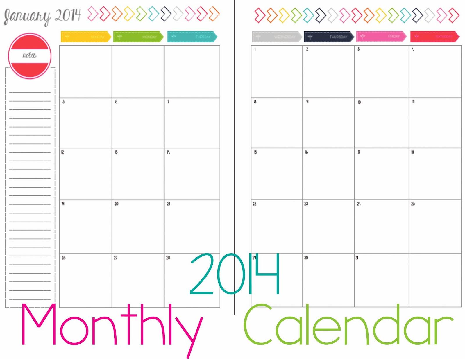 Free Cute Calendar Printables 2014