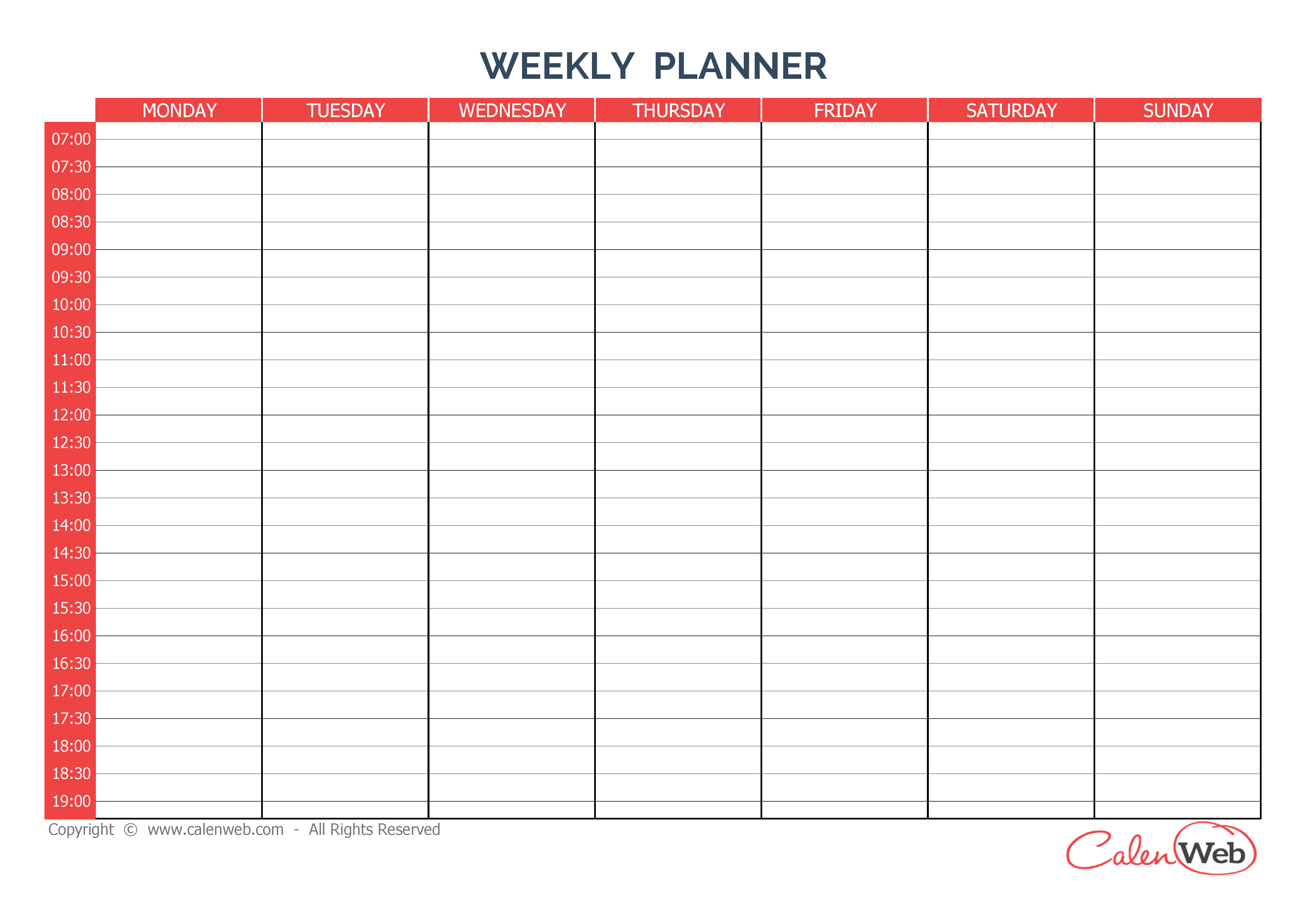 7Day Weekly Planner Template