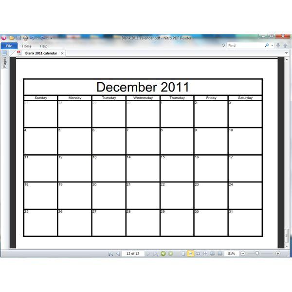 Blank Calendar Template Publisher