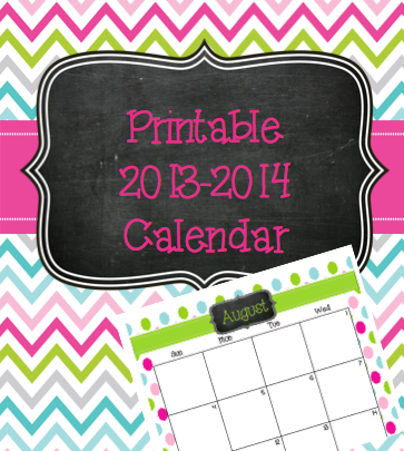 Free Printable 20132014 Calendar