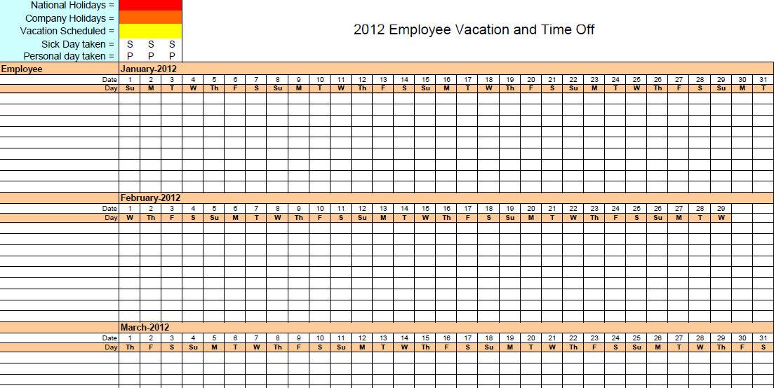 Printable Employee Vacation Calendar