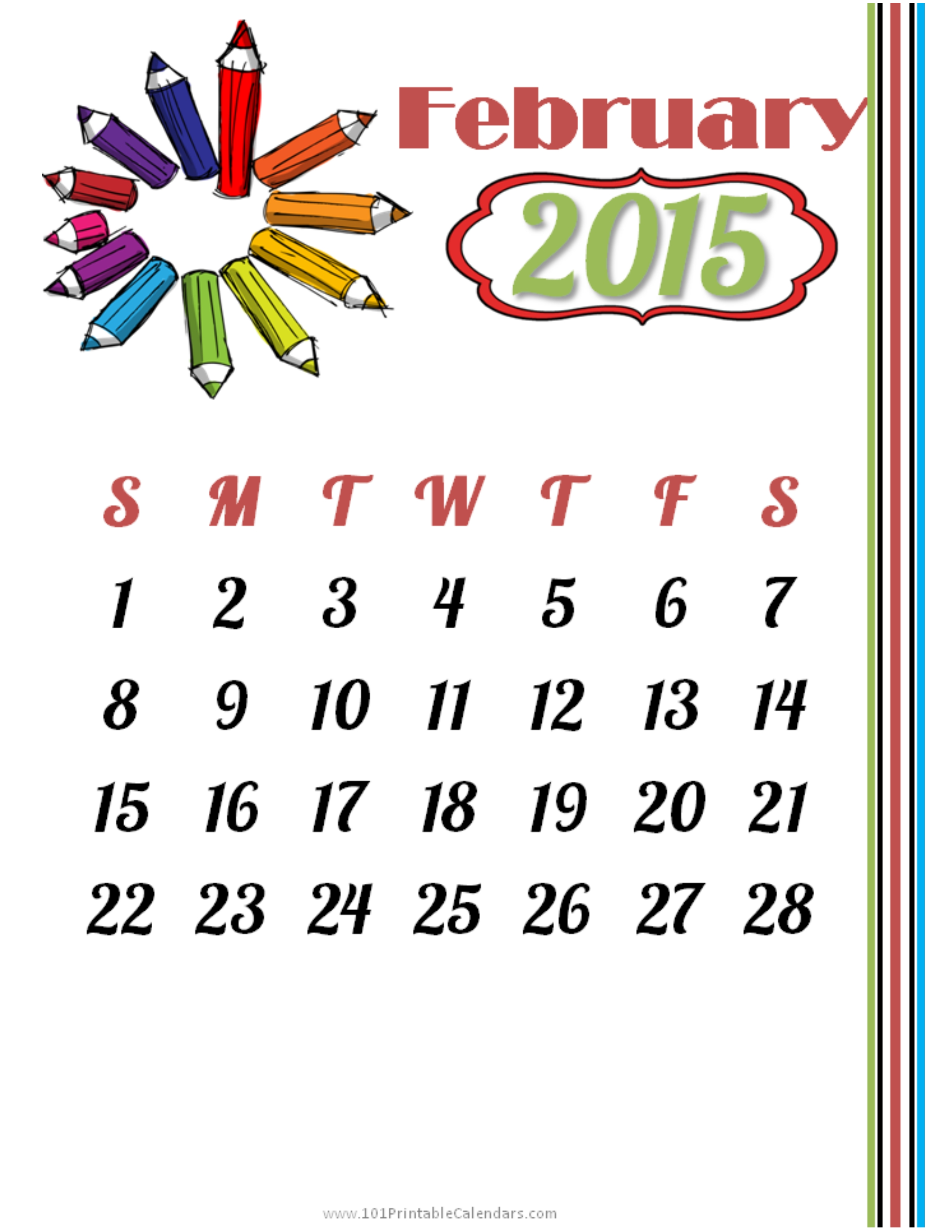February 2015 Calendar Printable