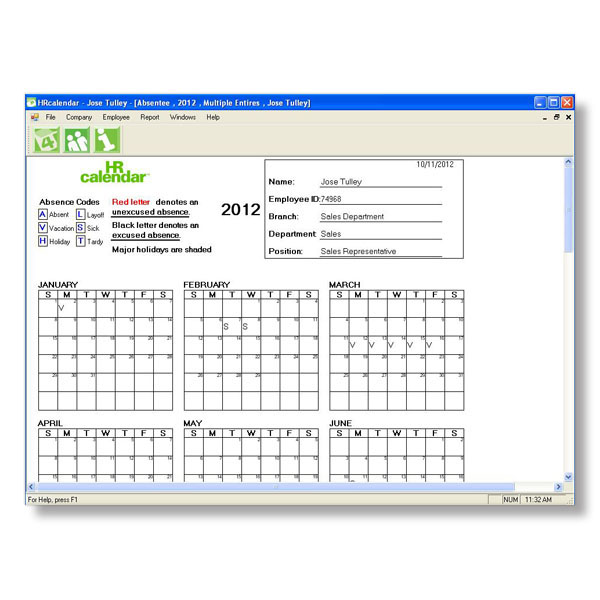 Free Printable Employee Attendance Calendars