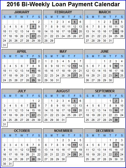 BiWeekly Payroll Calendar 2016