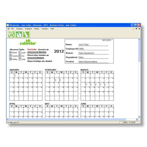 Printable Employee Attendance Calendar Template 2016