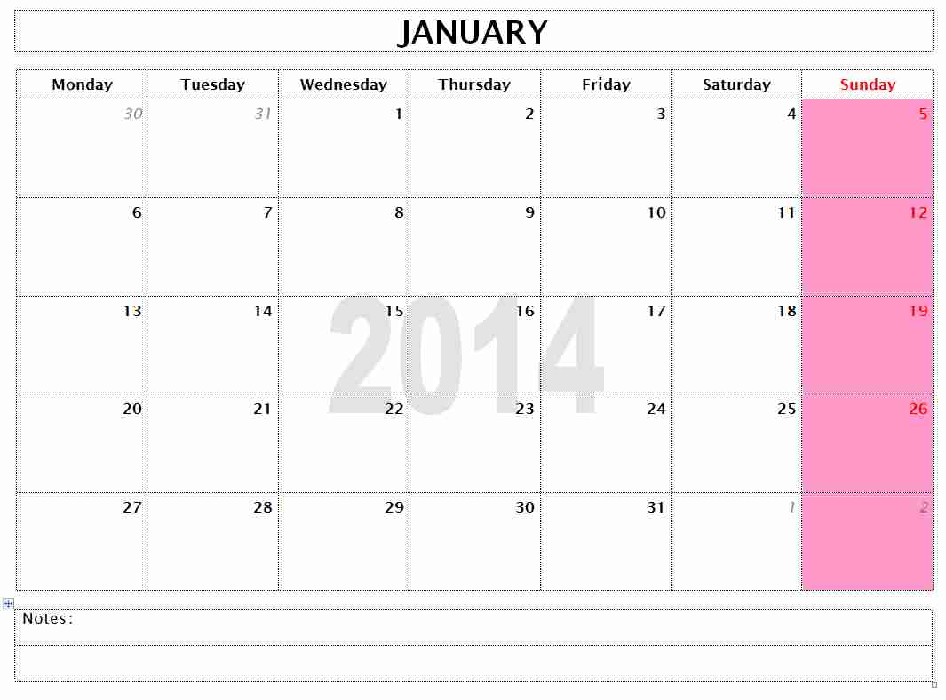 Word 2014 Monthly Calendar Templates