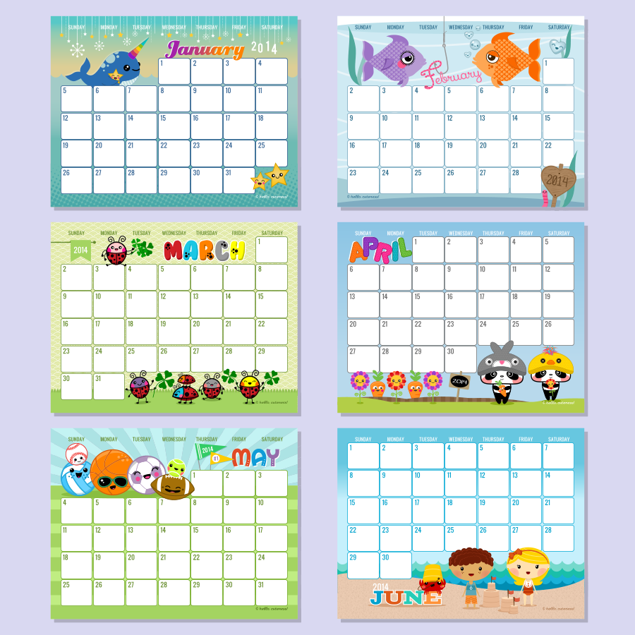 Free Editable Monthly Calendar 2014