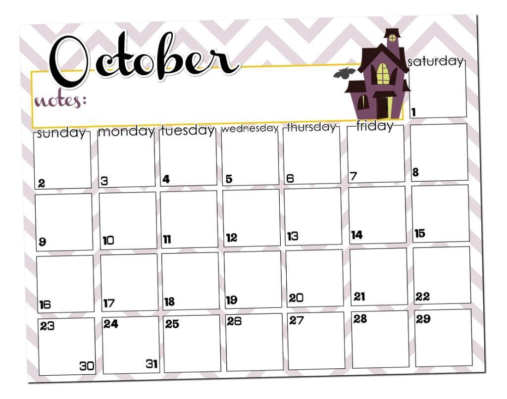 Cute October 2014 Calendar Printable