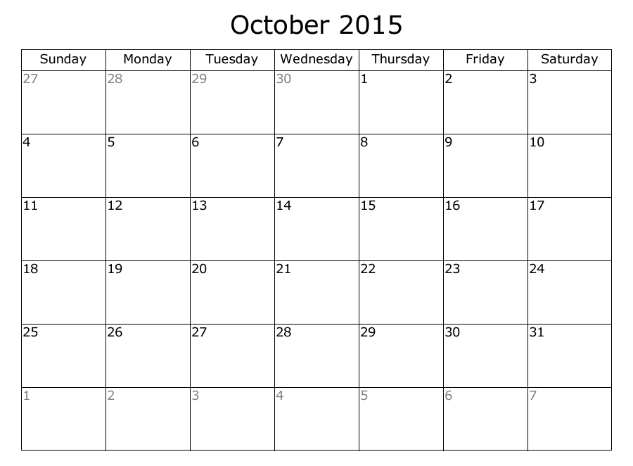 September October 2015 Calendar Printable