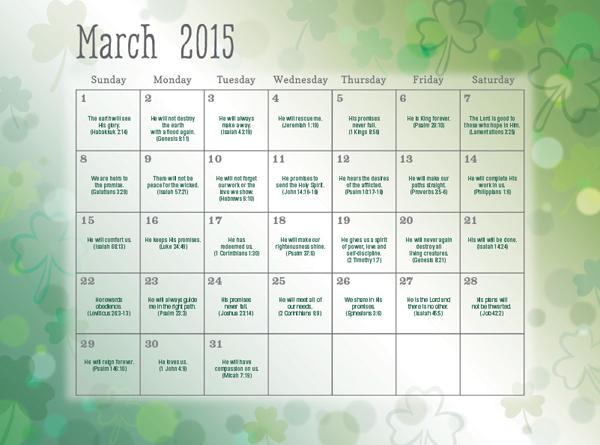June 2015 Calendars with Scriptures Prayer