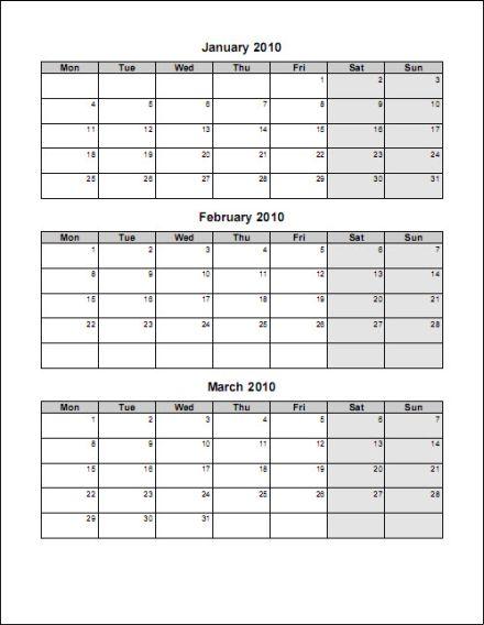 2016 3 Month Calendar Template Word
