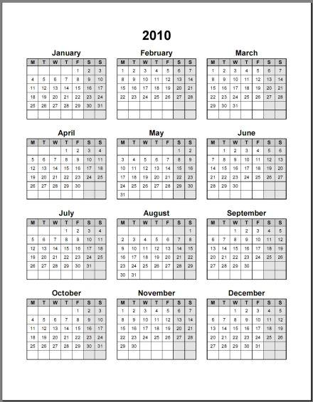 2010 Calendar Printable One Page