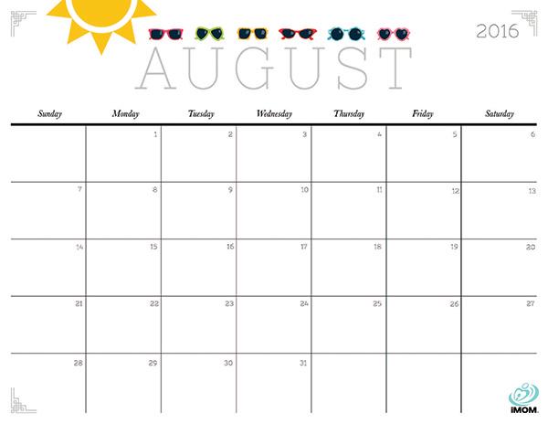 August 2016 Calendar Printable Org