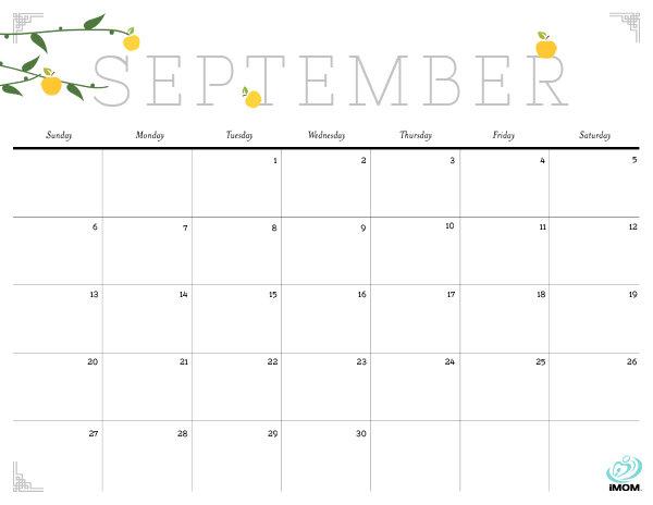 2015 Cute Calendar September Landscape