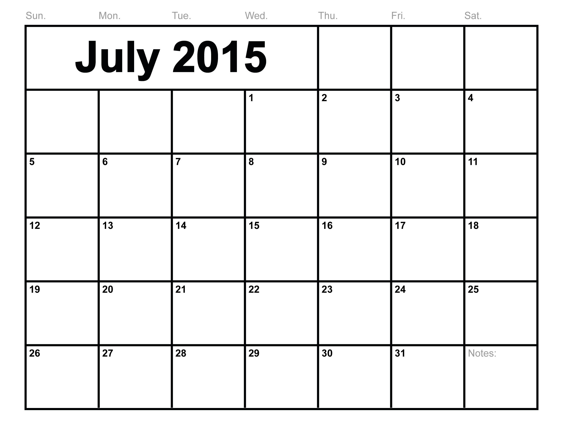 July 2015 Calendar Printable