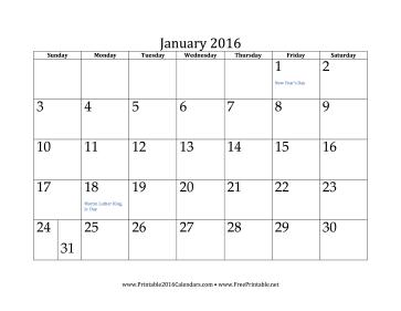 Free Printable Calendars January 2016 Com
