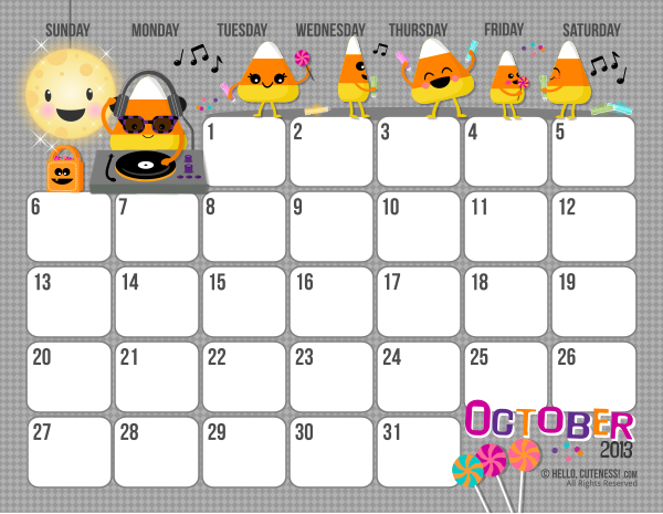Free Printable 2013 Monthly Calendar October