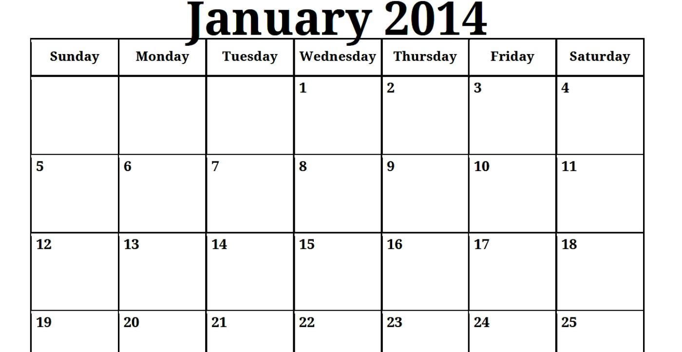 Blank January 2014 Calendar