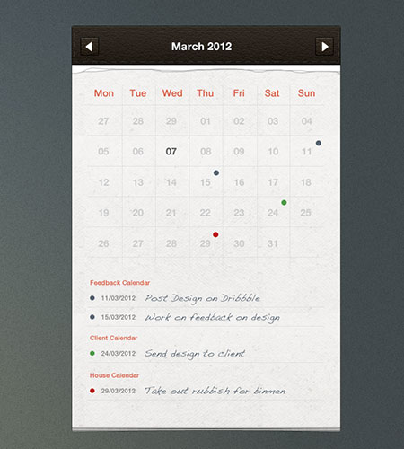 Calendar Ui Design Psd : Free reservation calendar template