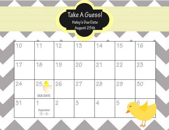 Guess Baby Due Date Calendar
