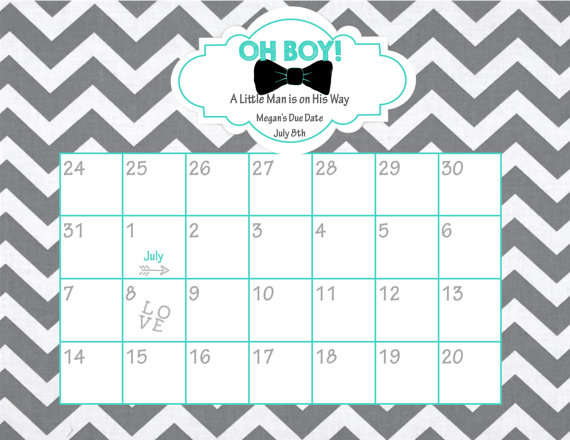Guess Baby Due Date Calendar Printable