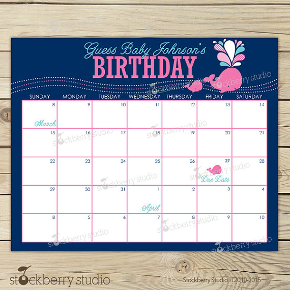 Calendar Due Date Baby Shower Games