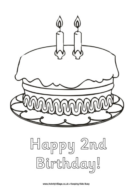 Happy 2nd Birthday Coloring Pages