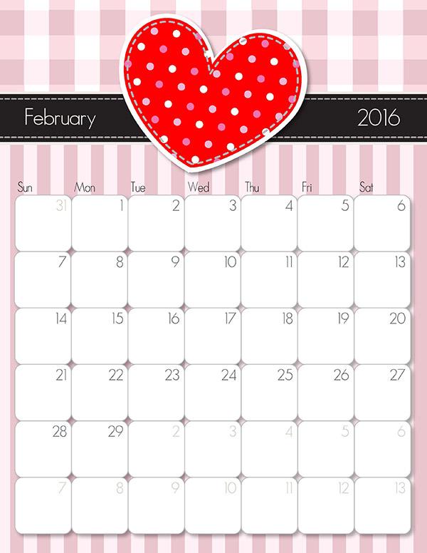 February 2016 Calendar Printable Imom