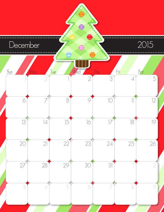 Cute December 2015 Calendar Printable