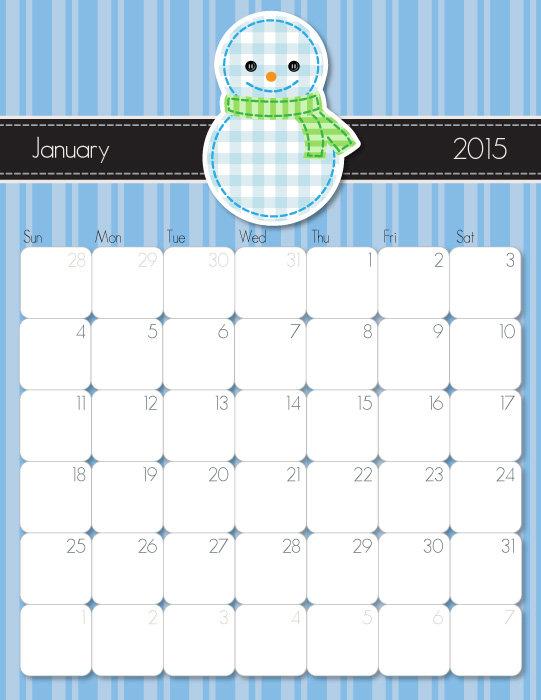 January 2015 Calendar Printable