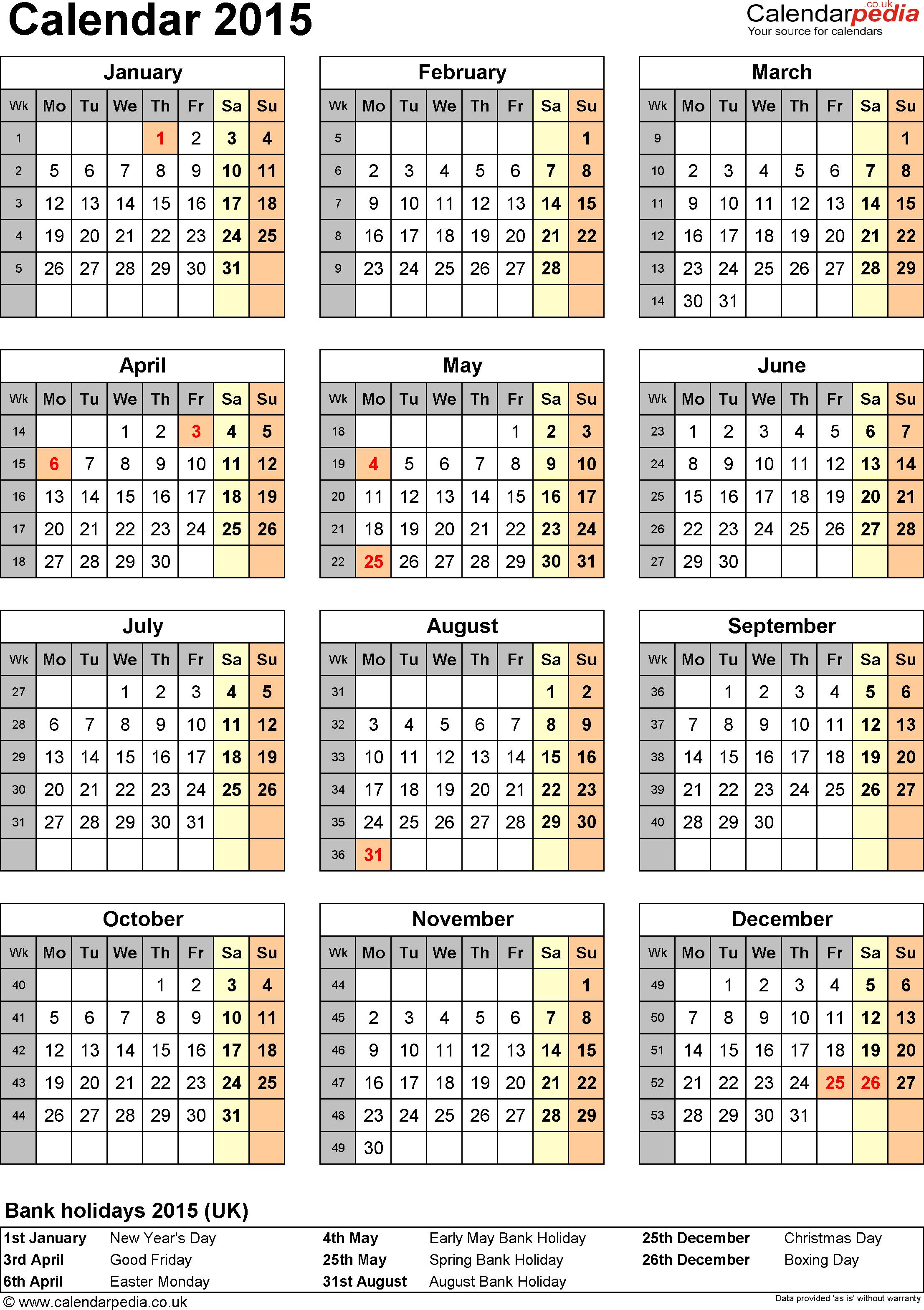 2015 Holiday Calendar Printable