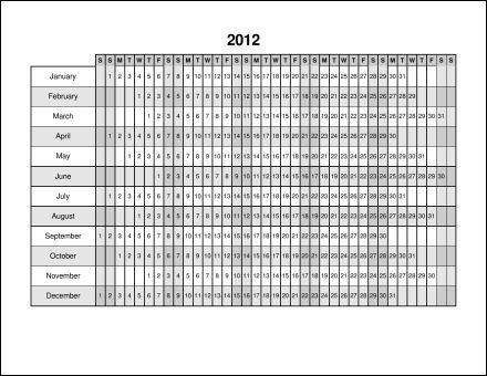 Julian Calendar 2012 Printable